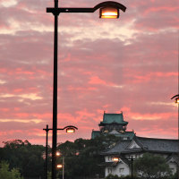 朝焼けの大阪城