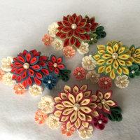 つまみ細工髪飾り  桜と菊の共演  若竹色と縹色