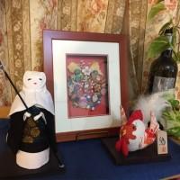 直虎と鶏 人形