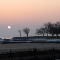 日の出を見て第二の故郷を思い出した日 sunrise of my home reminds me beautiful sunrise on the lake Michigan
