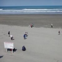 鹿島灘を臨んで砂浜を歩く
