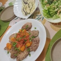 トンテキの夕食!