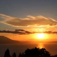 桜島と夕陽・・・鹿児島の風景 国分ハイテク展望台