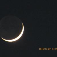 金星と三日月のコラボ 2016.12.2 夕方