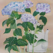 紫陽花とコーヒーポット