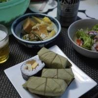 たことツナのサラダと柿の葉寿司