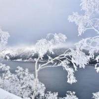 摩周湖・・曇り空の下・・樹氷の花咲く。