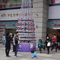 アルカキッド錦糸町前の江戸切子のクリスマスツリー