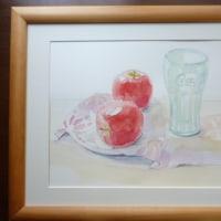 水彩画 りんご