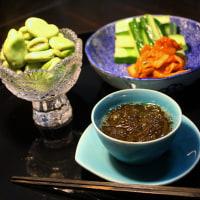 伊平屋島の太もずく・空豆など・・・酒肴膳