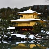 雪の龍安寺・金閣寺