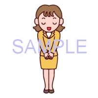 女性・立ちポーズ3/社員/販売・ビジネスのイラスト
