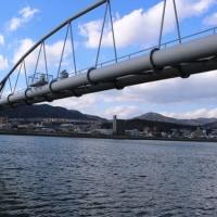 川を渡る水道管~太田川放水路散策