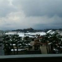 朝うっすらと雪が積もっていました
