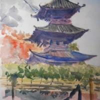 法華経寺(F4)水彩