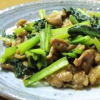 豚肉と小松菜のにんにく醤油炒め(*^^*)