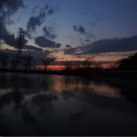 梶ノ宮神社下池からの夕暮れ模様