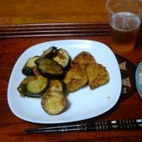 6月23日夕 鹿児島若鶏カレー味焼、茄子とズッキーニとトマトのオーブン焼