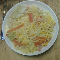 夜は「カルボナーラ」を食べました!!!
