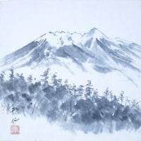 木曽の御嶽山(水墨画)