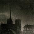 尖塔の先の夜空