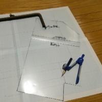 ロゴ入りデニム生地でがま口ショルダー、型紙製作!