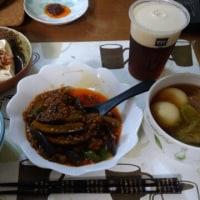 3月20日夕 麻婆茄子、スープ餃子