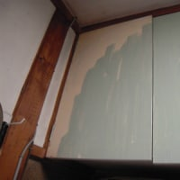 オバサン、台所でペンキ塗り