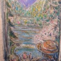 朝日記130320  音楽絵画 水辺のある春 と女子大の卒業式