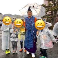 雨のマラソンと温泉と魚