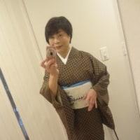 大島紬と龍の帯で湯文字を受け取りに・・・