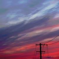 定点観測 夕焼け空が真っ赤か…
