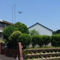 運動会総練習でした。ドローンにより上空からの閉校記念写真を撮ってもらいました。