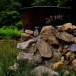 野外の五右衛門風呂