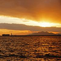 初冬の夕焼け・広島港 161207