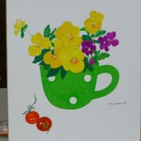 とよこの絵カップにお花を描いてみました、ちょっとアートでしょう