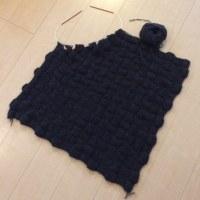 バスケット編みのひざ掛けはもう一息