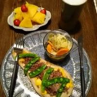 おうちでカフェ風♪ コンビーフ&チーズ・ナン