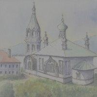 霧に煙るハリストス正教会(函館大沼スケッチ)