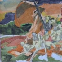 水彩模写「メデューズ号の筏」