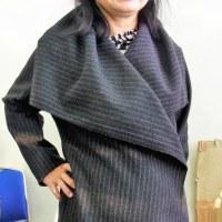 大きな襟の簡単コート(カットソー生徒作品)