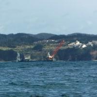 カヌーチームは長島近くで監視活動。