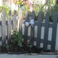 庭の三角州に手作りフェンス!