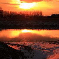 河北潟干拓地夕景