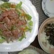宮崎名物 鶏の炭火焼&かくれんぼサラダ^^とポテコロで晩酌♪