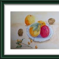 季節の果物を描く