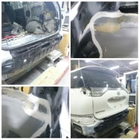 被害事故の「エスティマ・アエラス」鈑金工場にて作業進捗状況を確認!