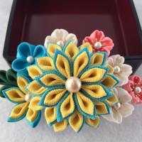 つまみ細工コーム髪飾り  桜と菊の共演