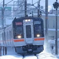 キハ75が雪の四日市を駆け抜ける。