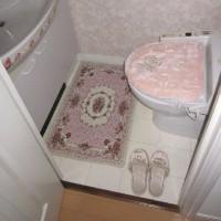 薔薇のマットをトイレ内に敷きました!